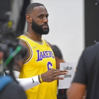 LeBron James has his photo taken during media day at the UCLA Health and Training Center in El Segundo, California, on Sept. 28.   USA TODAY / VIA REUTERS