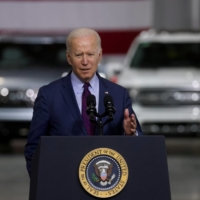 U.S. President Joe Biden speaks at a Ford electric vehicle center in Dearborn, Michigan, in May.   REUTERS