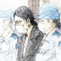 A court illustration shows Ayumi Kuboki attending a trial at Yokohama District Court on Friday.   KYODO