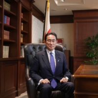 Fumio Kishida, newly elected leader of the Liberal Democratic Party (LDP), sits in his office at the party's headquarters in Tokyo on Wednesday. | BLOOMBERG
