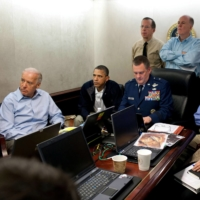 Then-U.S. President Barack Obama and Joe Biden, vice president at the time, along with members of the national security team, receive an update on the mission against Osama bin Laden in the Situation Room of the White House on May 1, 2011.   WHITE HOUSE / VIA REUTERS