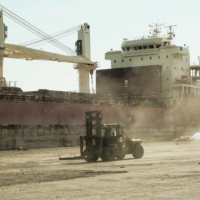 A freighter in the dockyard at the Port of Detroit on Sept. 27 | BLOOMBERG