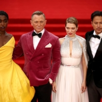 Cast members Lashana Lynch, Daniel Craig, Lea Seydoux and director Cary Fukunaga during the world premiere of 'No Time To Die' in London on Sept. 28.    REUTERS