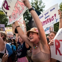 Protesters take part in a pro-choice rally outside the U.S. Supreme Court in Washington on Saturday.    AFP-JIJI