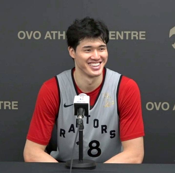 Raptors forward Yuta Watanabe speaks during a news conference on Friday in Toronto.   KYODO