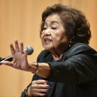 Setsuko Thurlow, an atomic bomb survivor from Hiroshima and a Canada-based advocate of abolishing nuclear weapons, speaks at a peace event in Hiroshima in November 2019. | KYODO