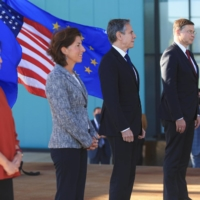 U.S. and EU officials, including American Secretary of State Antony Blinken, participate in the inaugural Trade and Technology Council meeting in Pittsburgh, Pennsylvania, on Sept. 29. | REUTERS