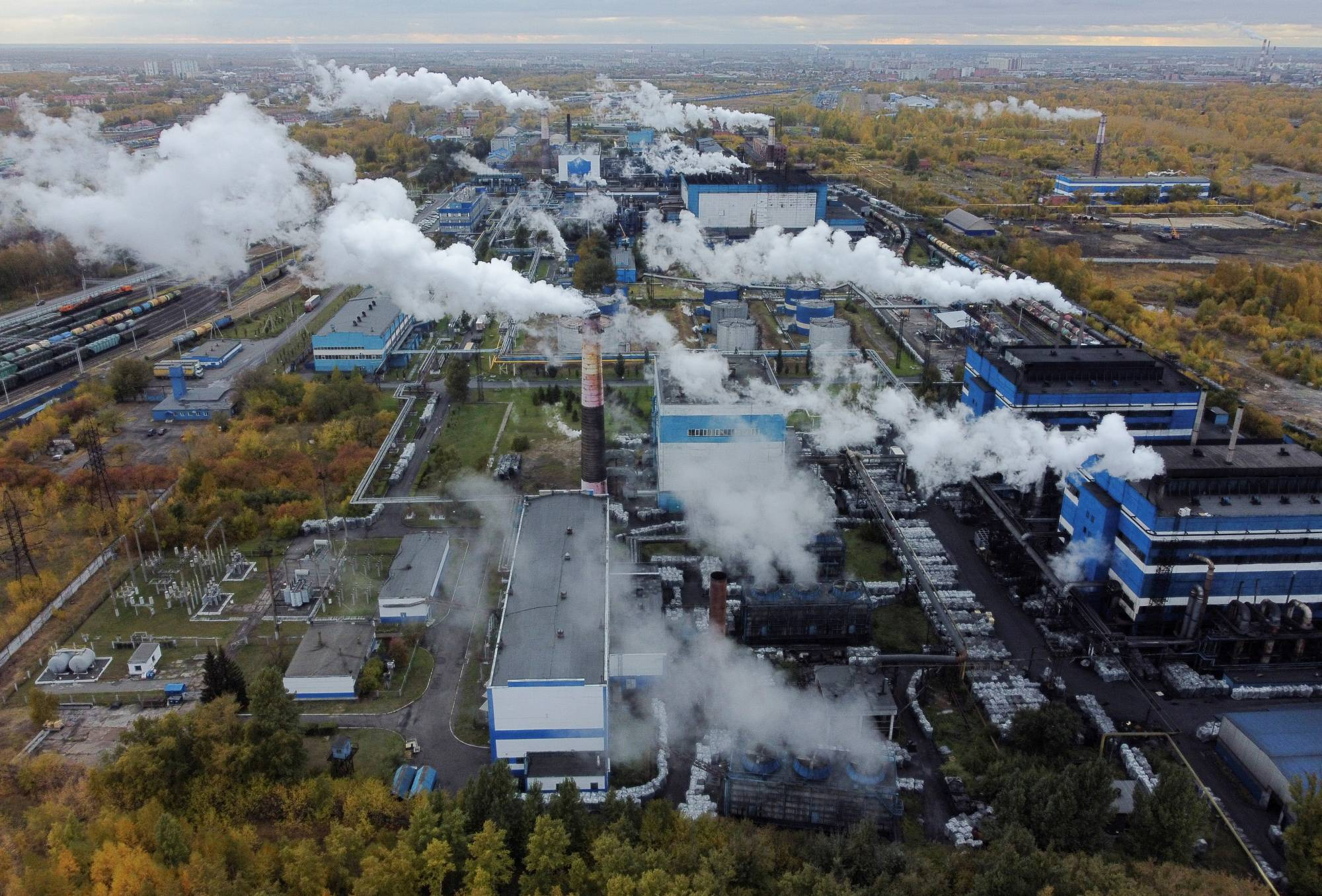 A plant producing carbon black, in Omsk, Russia, on Monday   REUTERS