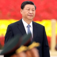 Chinese President Xi Jinping arrives for a ceremony at Tiananmen Square in Beijing on Sept. 30.    REUTERS
