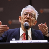 Syukuro Manabe speaks during a news conference at Princeton University in New Jersey on Tuesday.  | AFP-JIJI
