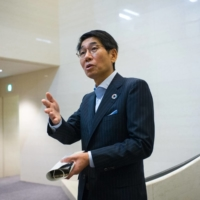 Takayuki Morita, president and chief executive officer of NEC Corp., speaks during an interview at the company's headquarters in Tokyo on Friday. | BLOOMBERG