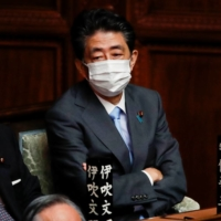 Former Prime Minister Shinzo Abe a the Diet on Oct. 4 | REUTERS