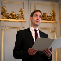 Mats Malm, permanent secretary of the Swedish Academy, speaks during a news conference to announce the winner of the Nobel Prize in literature, at the Swedish Academy in Stockholm on Thursday. | AFP-JIJI