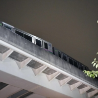 A train car that derailed on the Nippori-Toneri Liner in Tokyo following a strong quake Thursday night | KYODO