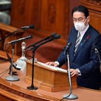 New Prime Minister Fumio Kishida delivers his first policy speech at the Lower House of parliament in Tokyo on Friday.  | AFP-JIJI