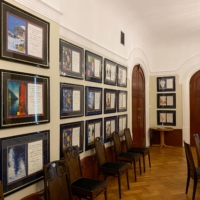 Nobel Peace Prize certificates given to laureates hang on the walls of the Little Hall room at the Norwegian Nobel Institute in Oslo. | REUTERS