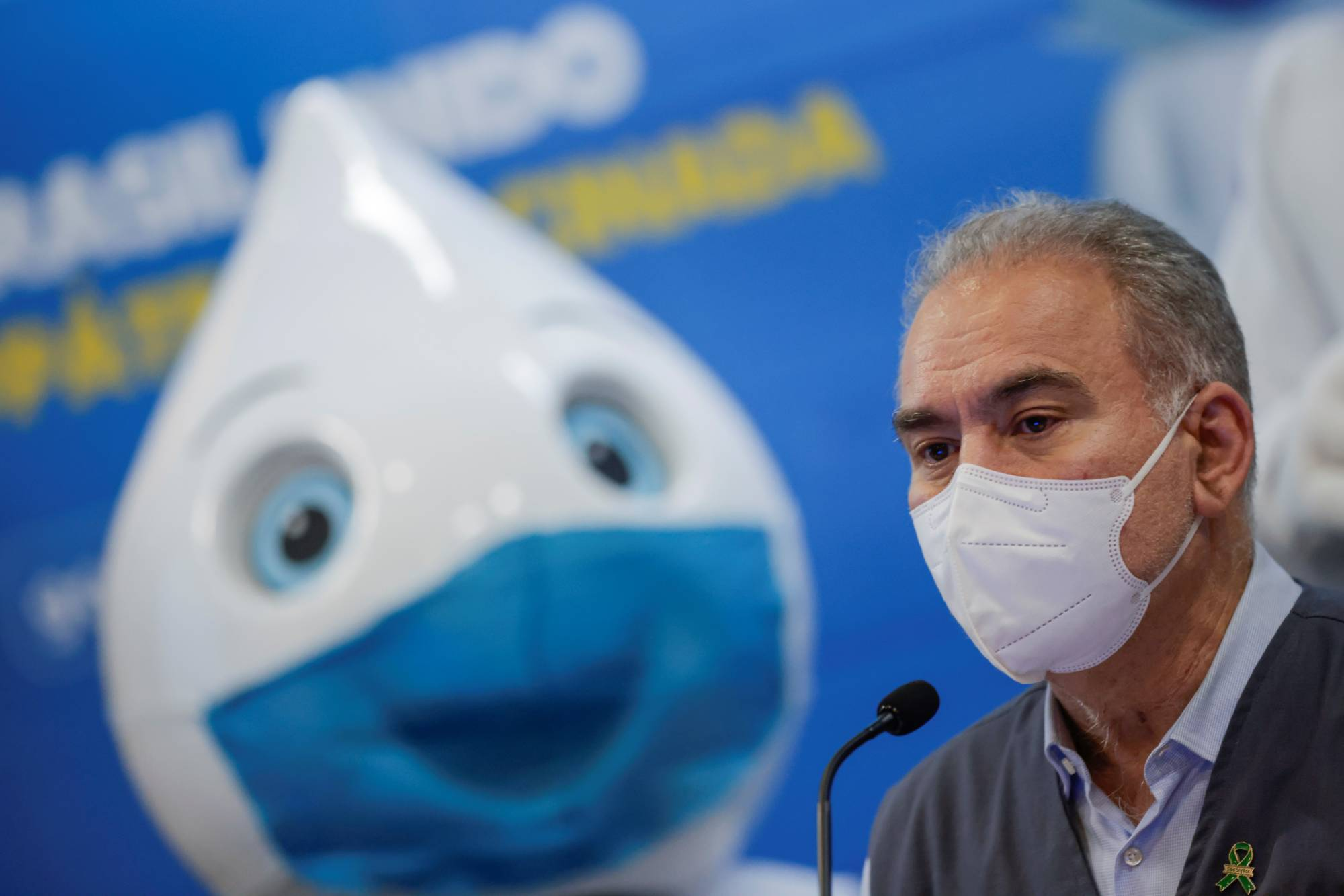 Brazilian Health Minister Marcelo Queiroga attends a news conference in Brasilia on Friday. | REUTERS