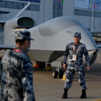 A People's Liberation Army Air Force WZ-7 high-altitude reconnaissance drone is seen a day before the 13th China International Aviation and Aerospace Exhibition in Zhuhai, China, on Sept. 27. | AFP-JIJI