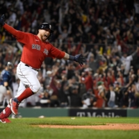 Red Sox catcher Christian Vazquez celebrates after hitting a walk-off, two-run home run against the Rays during Game 3 of the ALDS in Boston on Sunday.   USA TODAY / VIA REUTERS