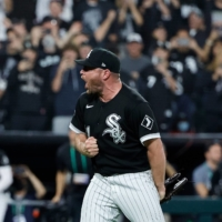 White Sox closer Liam Hendriks reacts after striking out Jose Altuve to seal the win for his team in Game 3 of the ALDS in Chicago on Sunday.   USA TODAY / VIA REUTERS