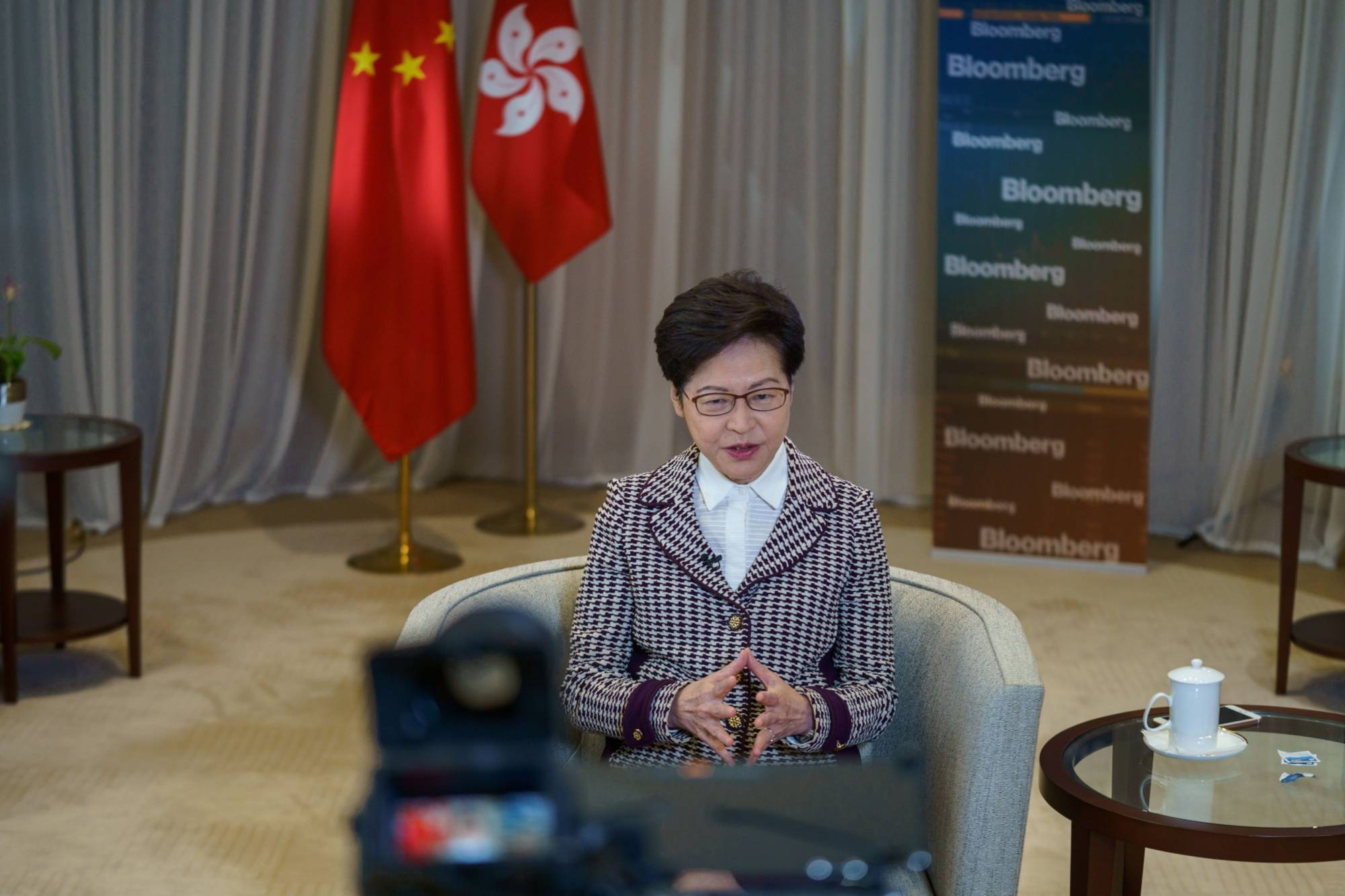 Carrie Lam, Hong Kong's chief executive, speaks during an interview in Hong Kong.   BLOOMBERG