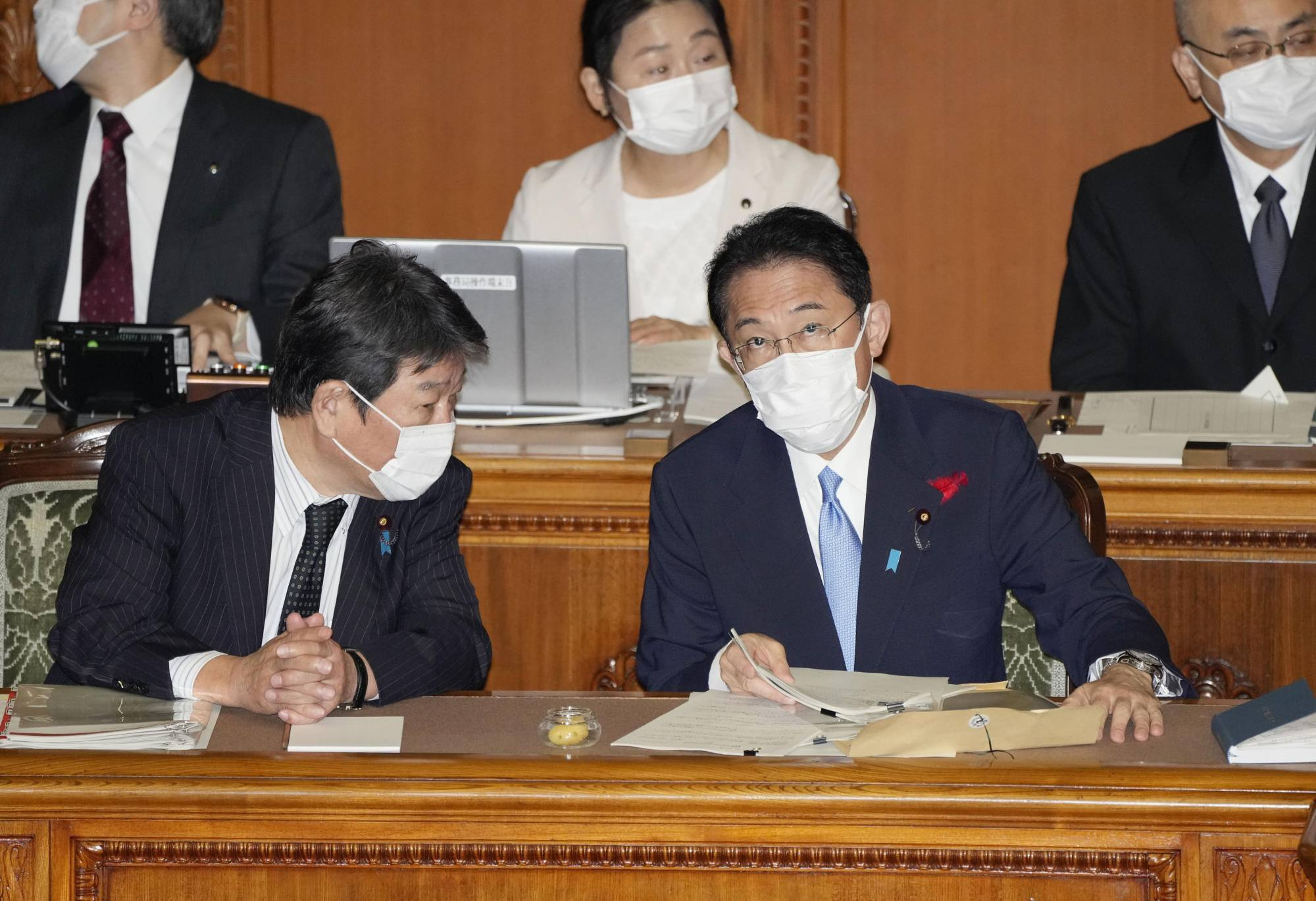 Prime Minister Fumio Kishida attends an Upper House session in Tokyo on Tuesday. | KYODO