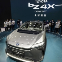 Toyota Motor Corp.'s 'Beyond Zero' bZ4X electric sport utility vehicle at the Auto Shanghai 2021 in April | BLOOMBERG