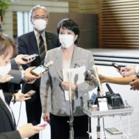Sanae Takaichi, policy chief of the Liberal Democratic Party, speaks to reporters in Tokyo last week. | KYODO