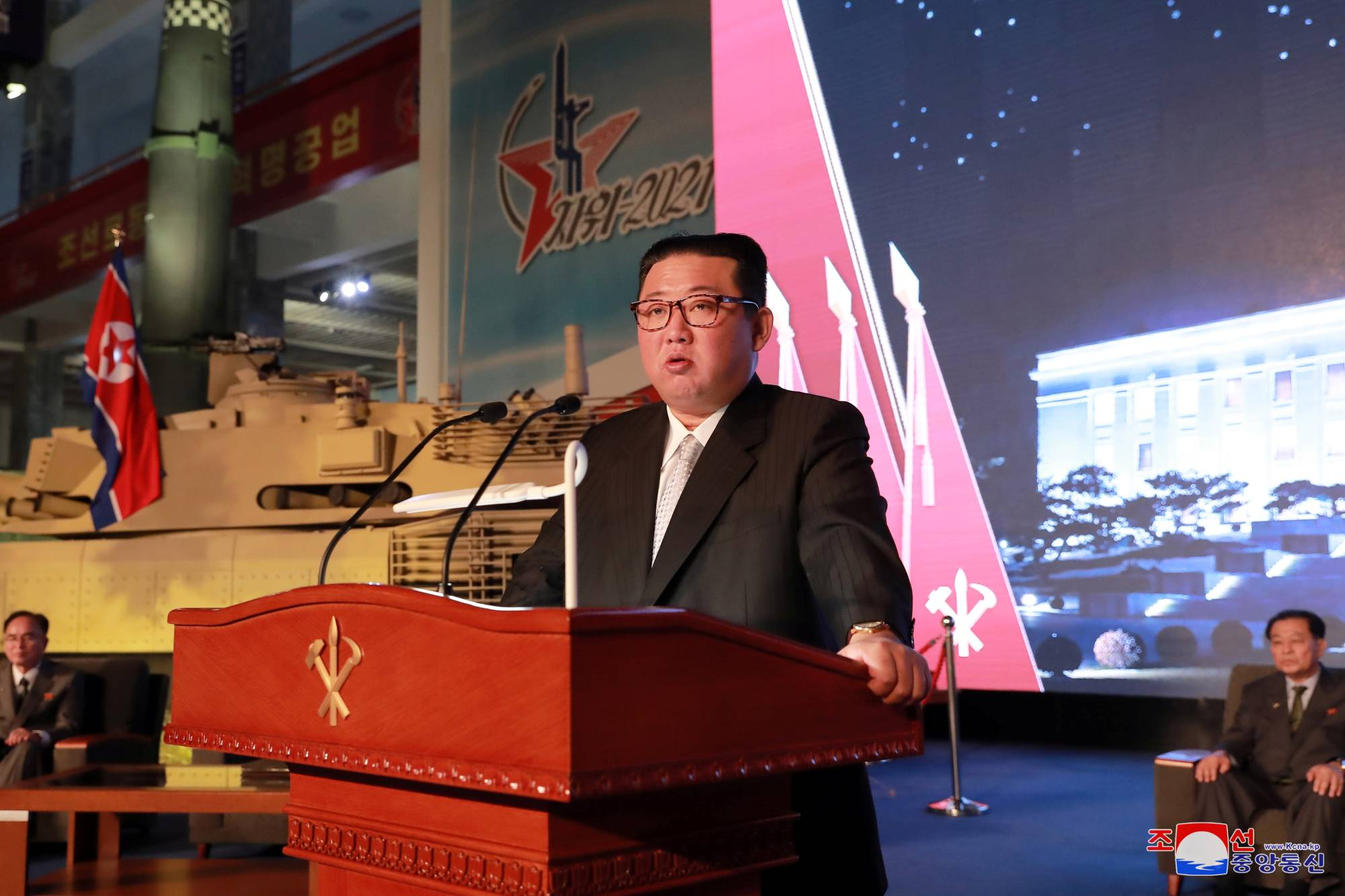 North Korean leader Kim Jong Un speaks at the 'Defense Development Exhibition' in Pyongyang in this undated photo released Tuesday.   KCNA / VIA REUTERS