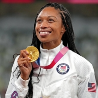 U.S. star Allyson Felix says she was never chasing Carl Lewis